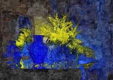 Flores da mimosa em um vaso azul Ainda-vida rústica Aquarela molhada de pintura no papel Arte ingénua Arte abstrata Aquarela do d ilustração stock