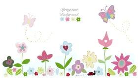 Flores da mola da beleza, flores bonitos da borboleta Fundo do tempo de mola Fotos de Stock