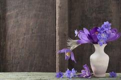 Flores da mola no vaso no fundo de madeira Imagem de Stock