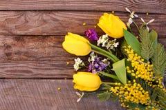 Flores da mola: tulipas amarelas, mimosa Foto de Stock Royalty Free