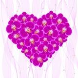 Flores da orquídea sob a forma de um coração Fotografia de Stock Royalty Free