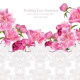 Flores da peônia e cartão delicado do laço Vetor natural fresco da composição da primavera Fotos de Stock Royalty Free