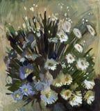 Flores da pintura a óleo Imagens de Stock Royalty Free