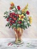 Flores da pintura em um vaso de vidro Imagem de Stock Royalty Free