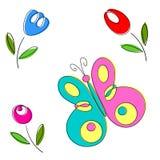 Flores da primavera e borboletas, vetor Imagens de Stock