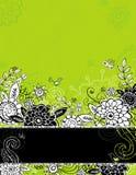 Flores da tração da mão no fundo verde Imagem de Stock