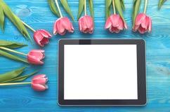 Flores da tulipa e dispositivo do tablet pc com a tela vazia no fundo de madeira com espaço da cópia conceito do dia da mulher Fotos de Stock