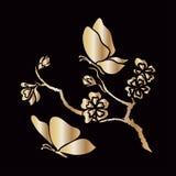 Flores de cerezo y mariposas de la ramita Fotos de archivo libres de regalías