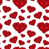 Flores de color rojo oscuro de lujo como modelo inconsútil de los corazones en el contexto blanco Fondo del amor del día de San V Imágenes de archivo libres de regalías