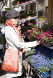Flores de compra da mulher Imagens de Stock