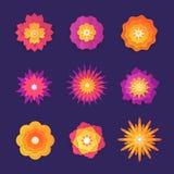 Flores de corte de papel - grupo de objetos coloridos do vetor moderno Imagem de Stock