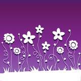 Flores de corte de papel no fundo ultravioleta Foto de Stock Royalty Free