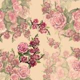 Flores de festão da aquarela com sakura Teste padrão sem emenda floral em um fundo cor-de-rosa Imagens de Stock Royalty Free