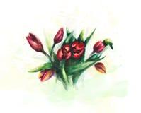 Flores de la acuarela Foto de archivo libre de regalías