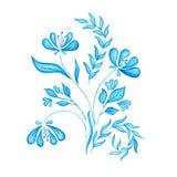 Flores de la acuarela en estilo del gzhel libre illustration