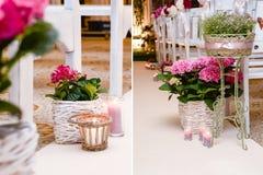 Flores de la boda en la cesta Fotos de archivo libres de regalías