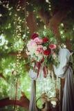 Flores de la boda usadas como decoraciones fotografía de archivo libre de regalías