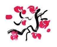 Flores de la caligrafía del movimiento de la pintura de Japón Fotos de archivo libres de regalías