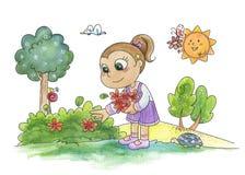 Flores de la cosecha de la chica joven Fotografía de archivo