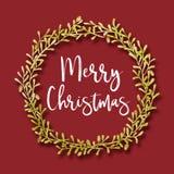Flores de la decoración de la pintura del Watercolour y marco de la hoja con el texto de la Feliz Navidad imagenes de archivo