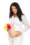 Flores de la explotación agrícola de la mujer embarazada de la belleza Fotos de archivo
