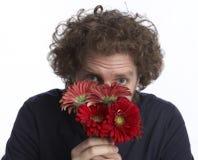 Flores de la explotación agrícola del hombre Imagen de archivo