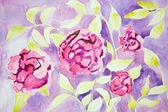 Flores de la fantasía de Rose en un fondo de la lila Imágenes de archivo libres de regalías