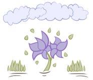 Flores de la historieta con vector de las nubes Imagen de archivo libre de regalías