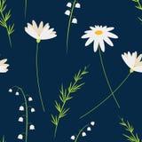 Flores de la historieta del vector Manzanillas y lirio de los valles Modelo floral incons?til Estilo para las impresiones de pasc stock de ilustración