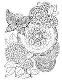 Flores de la hortensia, de la mariposa y de las mandalas, modelo decorativo Imagen de archivo libre de regalías