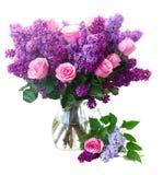 Flores de la lila con las rosas imágenes de archivo libres de regalías