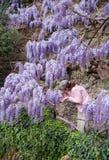 Flores de la lila del olor de la mujer imagen de archivo libre de regalías