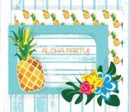 Flores de la piña y del trópico de la tarjeta de verano del vintage Foto de archivo libre de regalías
