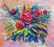 Flores de la pintura al óleo Imagen de archivo libre de regalías
