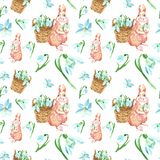 Flores de la primavera de la acuarela y modelo inconsútil del conejito lindo Fondo de Pascua con los snowdrops y el animal del be libre illustration