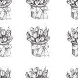 Flores de la primavera del vector Modelo inconsútil floral Fondo del vintage con los tulipanes dibujados mano Tinta Pen Drawing Fotografía de archivo