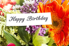 Flores de la primavera del withf de la tarjeta del feliz cumpleaños Imágenes de archivo libres de regalías