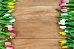Flores de la primavera en el tablero Imágenes de archivo libres de regalías