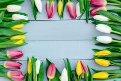 Flores de la primavera en el tablero Fotos de archivo libres de regalías