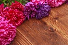 Flores de la primavera en fondo de madera Imagen de archivo libre de regalías