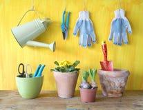 Flores de la primavera y herramientas que cultivan un huerto Imagen de archivo