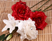 Flores de la rosa del rojo y del blanco Foto de archivo