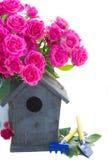 Flores de la rosa del rosa con las herramientas que cultivan un huerto Imagenes de archivo