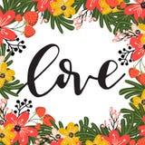 Flores de la tarjeta de felicitación stock de ilustración