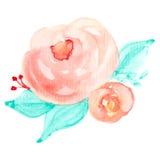 Flores de la tarjeta de felicitación de la acuarela del vector handmade Fotografía de archivo