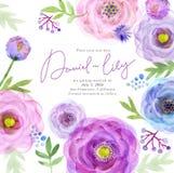 Flores de la tarjeta de felicitación de la acuarela handmade Fondo de la enhorabuena Tarjeta de las flores Foto de archivo