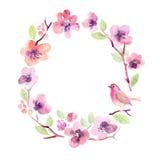 Flores de la tarjeta de felicitación de la acuarela handmade Fondo de la enhorabuena Tarjeta de las flores Fotos de archivo libres de regalías