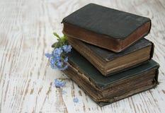 Flores de las nomeolvides y libros viejos Imagenes de archivo