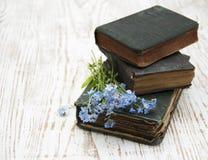 Flores de las nomeolvides y libros viejos Imagen de archivo libre de regalías
