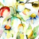Flores de los tulipanes y de la manzanilla Foto de archivo libre de regalías